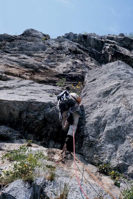 1969, Alessandro Gogna nella prima ascensione della Gogna-Cerruti alla Corna di Medale, Grigna