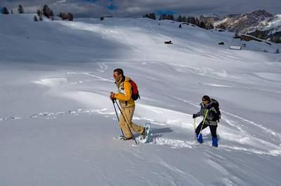 Italia; Trentino Alto Adige; Dolomiti,Val Badia, Piz Sorega-Pralongià, inverno, sci e ciaspole