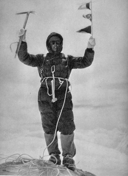 Ore 12.30 del 6.08.1958. Walter Bonatti in vetta al Gasherbrum IV. Da Gasherbrum4°-273ft(n.106)-16,5x21,3.