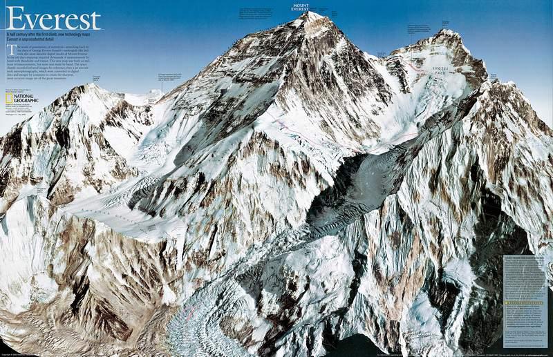 L'itinerario di salita all'Everest dal versante nepalese.