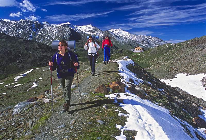 Alta val Martello, sentiero per la Cima Marmotta,  P. N. dello Stelvio. Sullo sfondo il rif. Martello