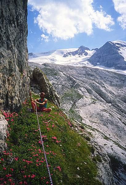 Heinz Mariacher al punto più alto del tentativo al Col de Bous