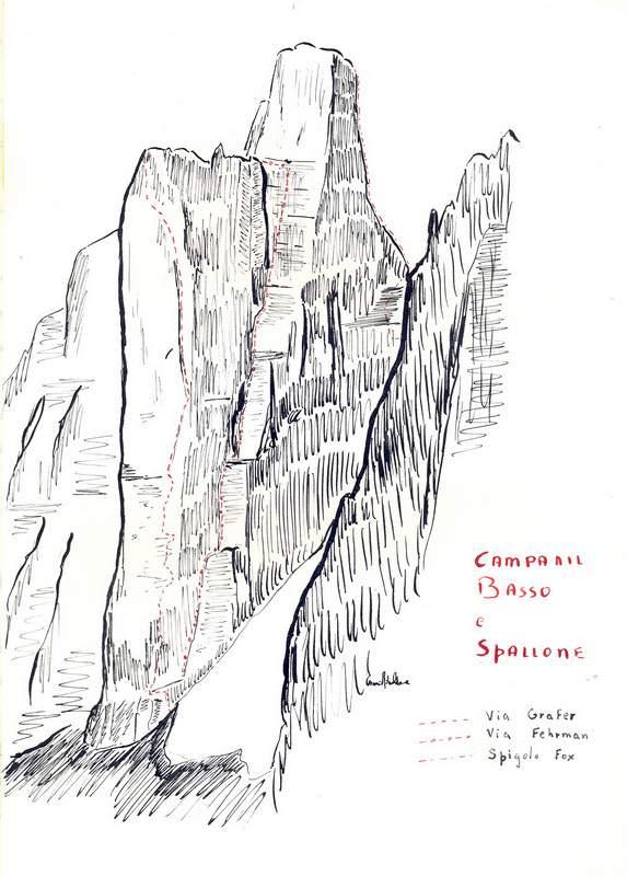 Ribaldone-Il campanile basso di brenta in uno schizzo di Gianni Ribaldone