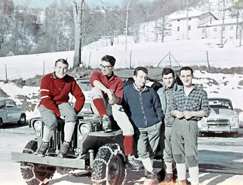 Capodanno 1963, Resinelli: Giorgio Bertone, Gianni Ribaldone, Romano Merendi, Giovanni Noseda, Alberto Calonaci. Foto: Alberto Marchionni