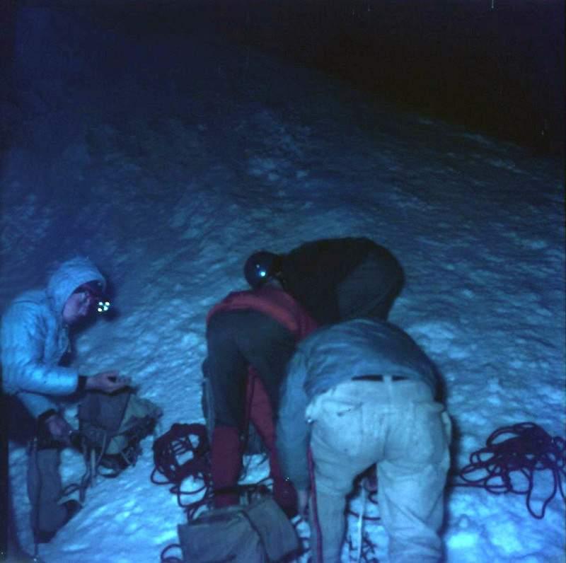 L'ultima foto di G. Ribaldone alla partenza del fatale Canalone Gervasutti al Mont Blanc du Tacul, 2 luglio 1966