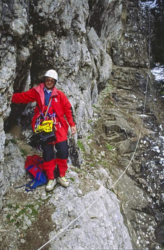 14.09.1988, G. Miotti nella discesa nel Canalone del Gigio. Marmolada pulita 1988, Dolomiti