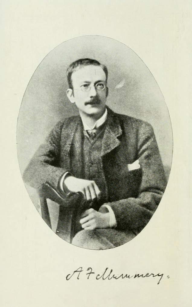 Ritratto autografato di Albert Frederick Mummery, inglese di Dover (1855-1895). Mummery fu tra i più grandi alpinisti dell'Ottocento: effettuò storiche salite sia con la fedele guida Alexander Burgener sia senza guide. Sul Cervino i due, assieme a J