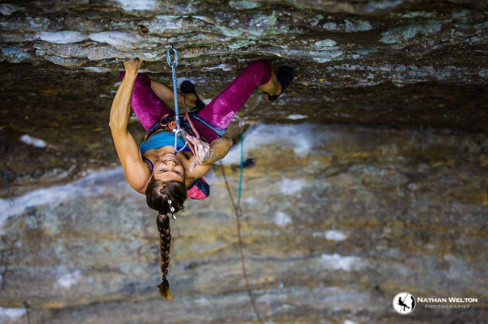 ClimbingGirls-4-Rannveig Aamodt bearing down on Flour Power, 5.13b.