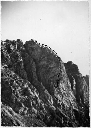 Caire di Prefouns, sperone sud-ovest, 1a asc