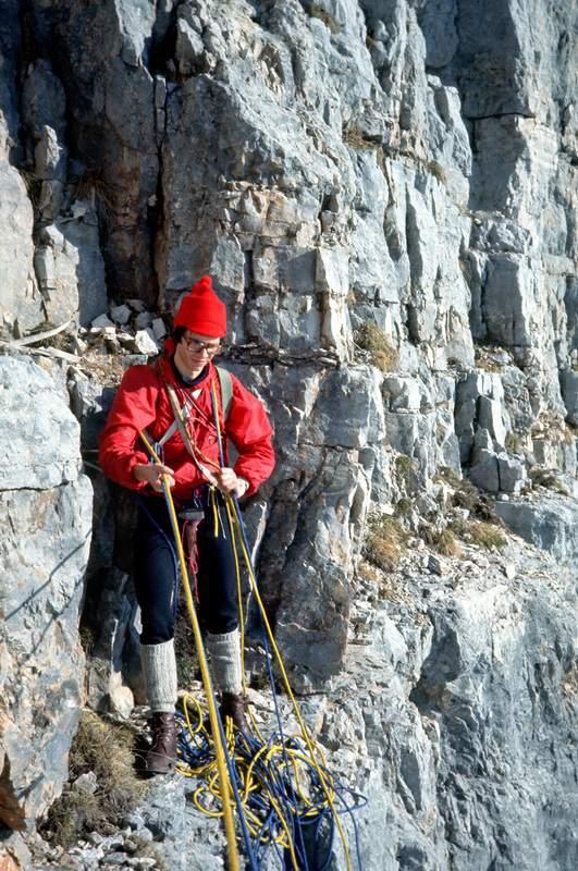 Seconda Pala di San Lucano,Flavio Ghio a poche lunghezze dalla vetta, 1a ascensione parete E