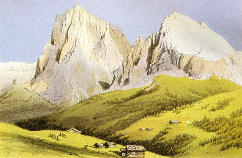 """Sassolungo e Sassopiatto dall'Alpe di Siusi, in un'illustrazione di J. Gilbert e G.C. Churchill, """"The Dolomite mountains"""", 1864"""