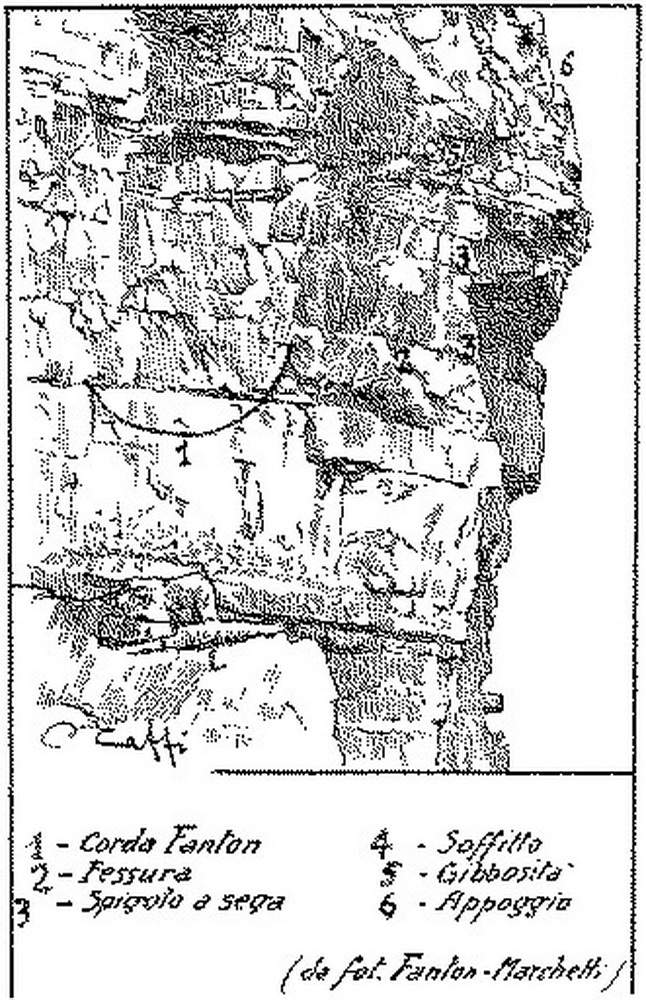 Lo schizzo di Annibale Caffi della Guida delle Dolomiti Orientali 1928 che, ricavato dalla foto Marchetti di alcuni anni prima, riporta erroneamente l'estremità destra della corda del tentativo Fanton vicino alla fessura superiore, sostenuta da un quinto chiodo. Questo, secondo la versione Casara, in seguito si staccò lasciando pencolare il mozzicone di corda dai tre chiodi infissi nella fessura sottostante, da lui in seguito percorsa. Ingannato così dalla foto, e ricordando di aver traversato dopo la fine della corda, Casara nello schizzo indicò erroneamente da percorrere in una ripetizione la fessura alta, anziché quella sottostante all'altezza dei tre chiodi.