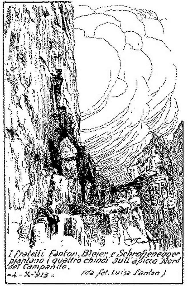 Disegno di Annibale Caffi (da fotografia di Luisa Fanton): i fratelli Fanton, Bleier e Schroffenegger piantano i quattro chiodi sugli Strapiombi Nord del Campanile di Val Montanaia, 4 ottobre 1913.