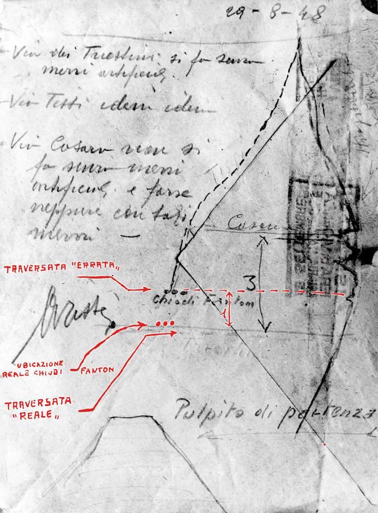 Schizzo firmato da Attilio Tissi e da lui stesso compilato il giorno del sopraluogo sul Campanile (29 agosto 1948). Ancora una volta i chiodi Fanton sono segnati erroneamente! La posizione giusta è quella demarcata in rosso.