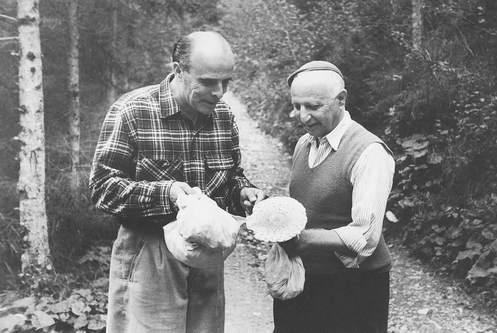 Casara con Antonio Berti cercatori di funghi in Val da Rin nel 1948.