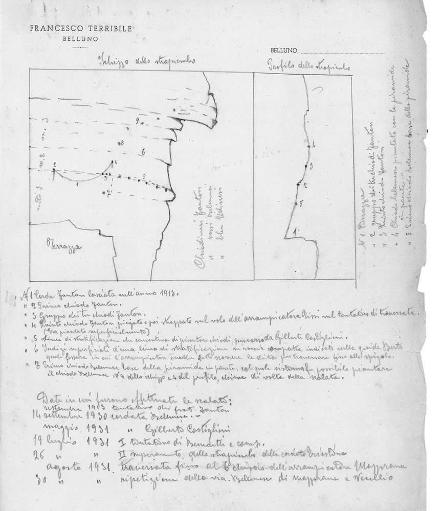 Disegno su carta intestata di Francesco Terribile con il riassunto degli avvenimenti sugli Strapiombi Nord del Campanile di Val Montanaia dal 1913 al 1931.