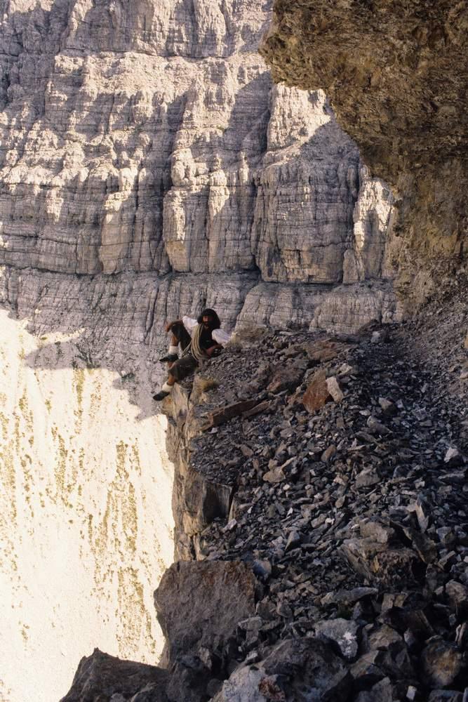 M. Corona sul ballatoio della discesa PIaz del Campanile di Val MOntanaia