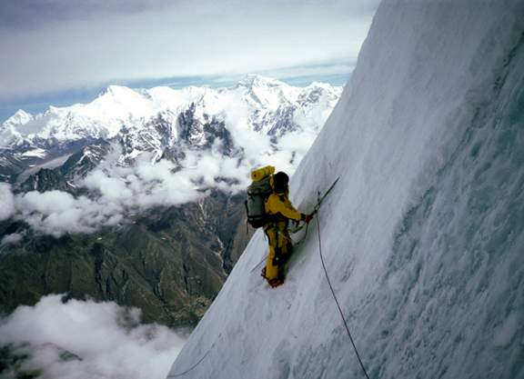 Alison Hargreaves during the first ascent of the northwest face of Kangtega (6779m) in Nepal. April 1986.