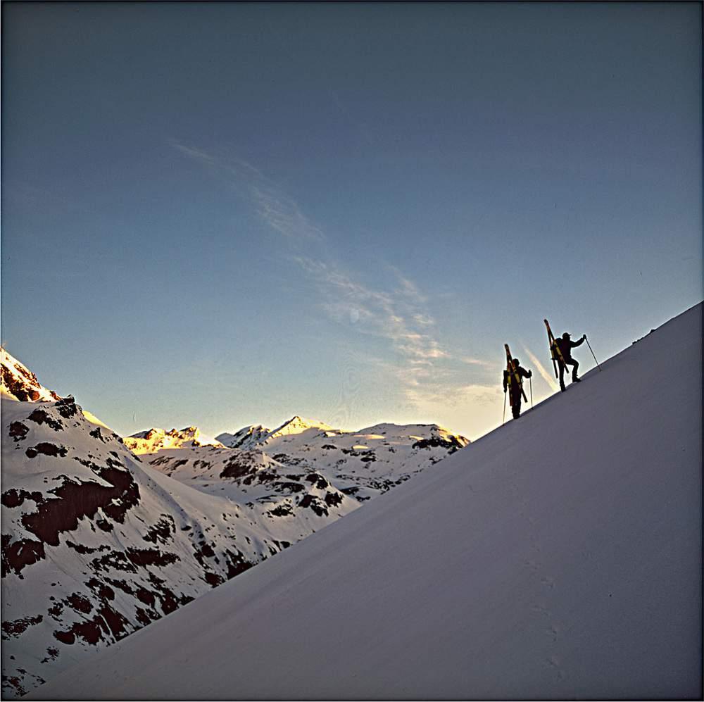 A. Gogna e G. Miotti in salita dal rifugio Bezzi al Mont Vaudet in vetta al Mont Joly, 27.04.1994, Valgrisenche, Valle d'Aosta