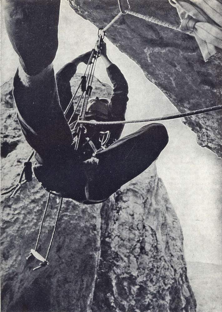 Gian Piero Motti in artificiale all'Orrido di Chianocco (Valle di Susa)