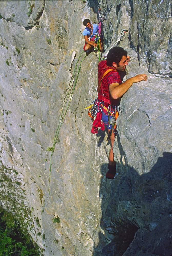 Valle di Susa, Parete di Catteissard, via del Risveglio, 19.7.1980, Roberto Bonelli sulla 3a L