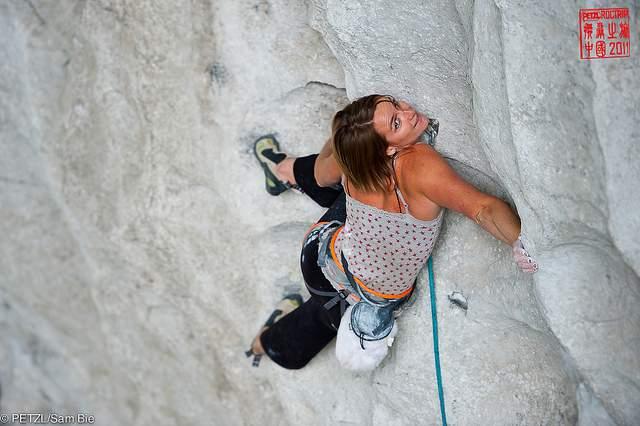 ClimbingGirls-23-Florence Pinet-Powder Finger, 8c,Great Arch, Getu Valley-Guizhou-China
