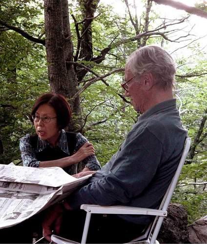 Fosco Maraini con la moglie Mieko 03-08-2003, casa di Pasquìgliora