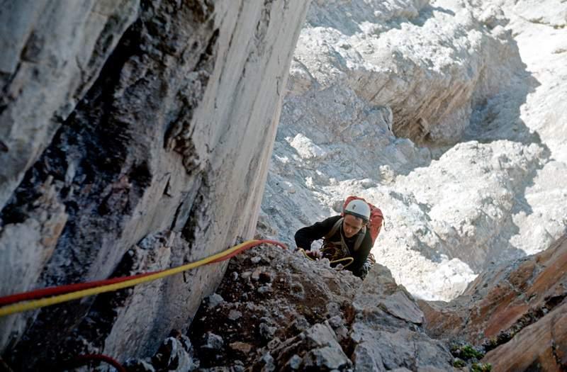 Heini Holzer, parete NW della Cima di Terranova, 1a ascensione, 1971
