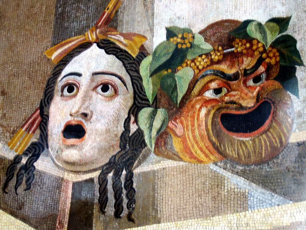 AlpinismoDramma-Tragic_comic_masks_-_roman_mosaic
