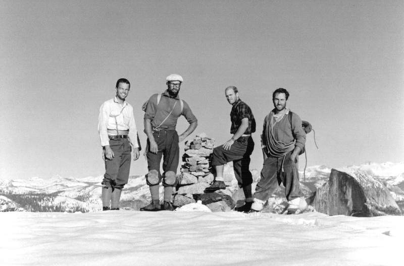 Frost, Robbins, Chuck Pratt and Chouinard at the completion of the first ascent of the North America Wall on El Capitan in 1964.