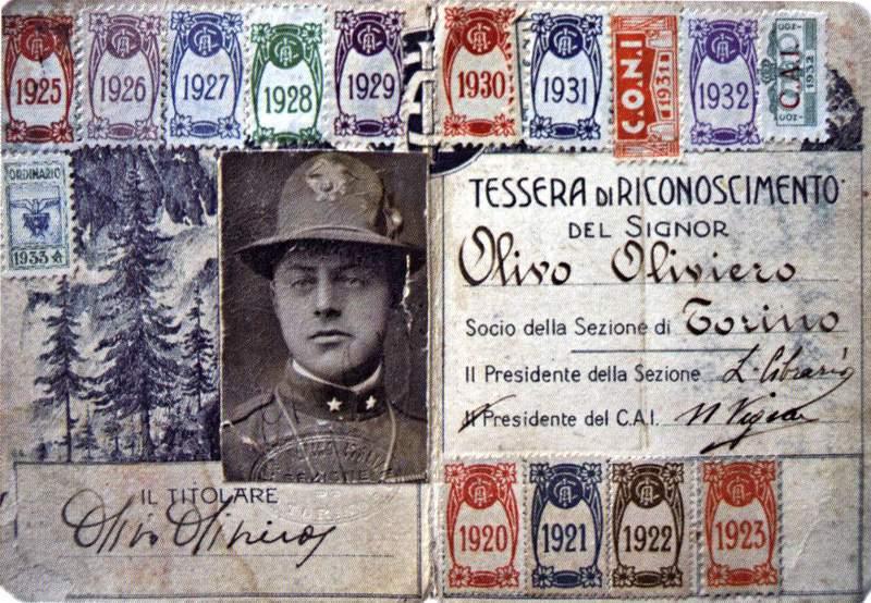 La tessera del CAI di Oliviero Olivo (archivio famiglia Olivo)