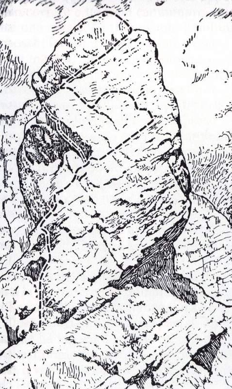 Il Pupo: via Olivo-Fanton, 1925 (da Antonio Berti, Le Dolomiti Orientali, vol. 1)