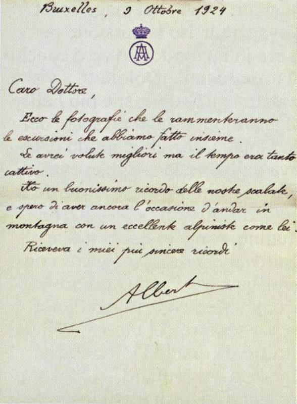 Lettera di Alberto del Belgio al professor Oliviero Olivo (1924)