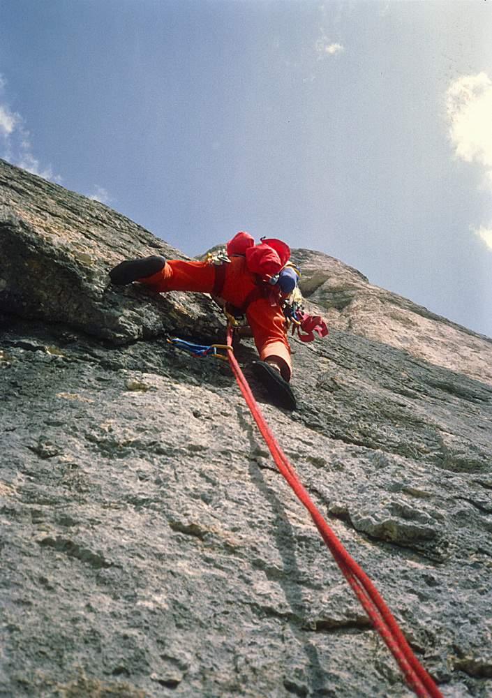 A. Gogna sulla via Messner al Sass dla Crusc, Val Badia