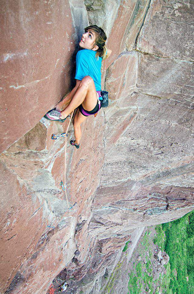ClimbingGirls-12-Colette McInerney punches out the lone 5.11 move on the otherwise 5.9 Meaty, Beaty, Big and Bouncy.