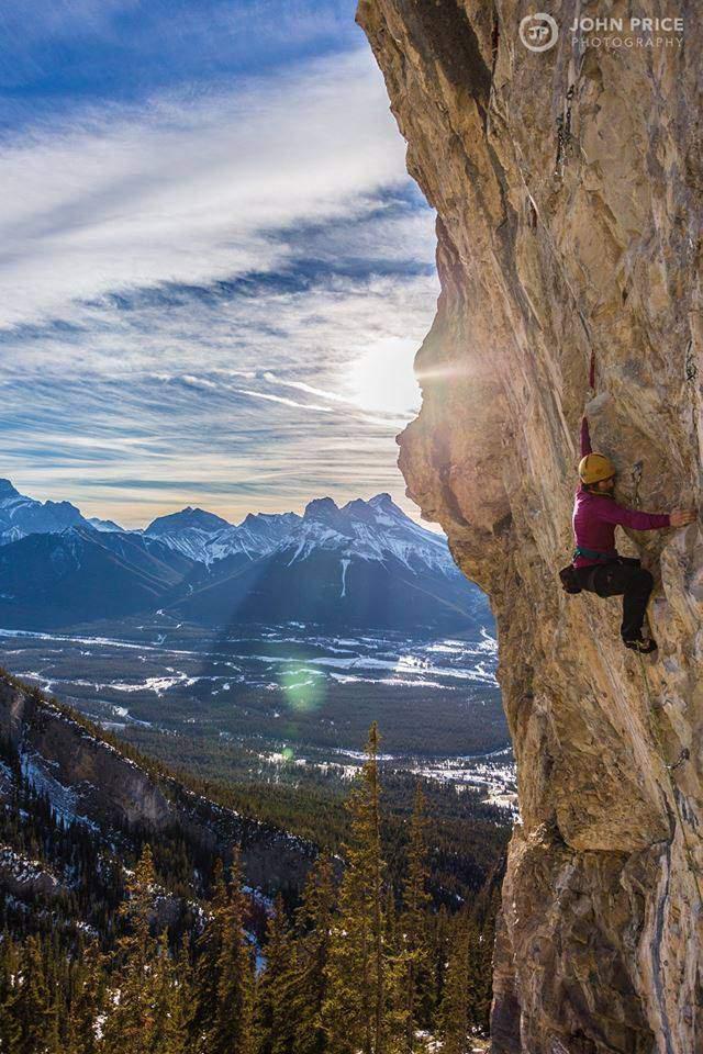 ClimbingGirls-12-Nancy Hansen pulling hard on 'Atlantis' 5.12c.