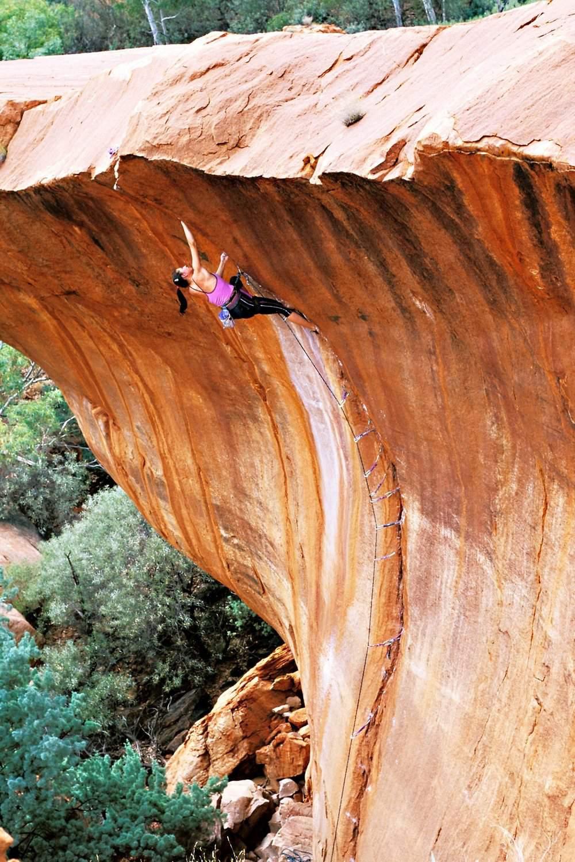 ClimbingGirls-23-VanessaPeterson-on the 2nd ascent ofTheWave (25, 5.12b), Nomad Springs,WA,Australia