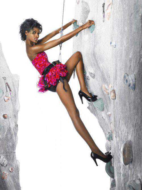 """""""The Girls Go Rock Climbing"""" -- The girls are left hanging in the air for an edgy fashion photo shoot on a rock-climbing wall, on America's Next Top Model on The CW. Pictured: Ebony Photo: Matthew Jordan Smith/Pottle Productions Inc ©2007 Pottle Productions Inc. All Rights Reserved."""