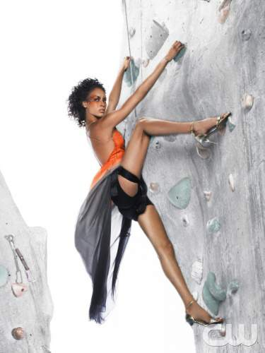 """The Girls Go Rock Climbing"" -- The girls are left hanging in the air for an edgy fashion photo shoot on a rock-climbing wall, on America's Next Top Model on The CW. Pictured: Lisa Photo: Matthew Jordan Smith/Pottle Productions Inc ©2007 Pottle Productions Inc. All Rights Reserved."